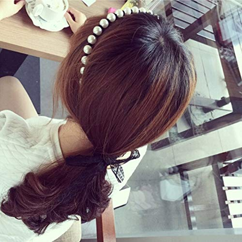 GOP Store Fashion Casual Elastic Twisted Lace Pearl Head Hair Band Women Girls Bow Knot Holder Tail Bowknot Headband -