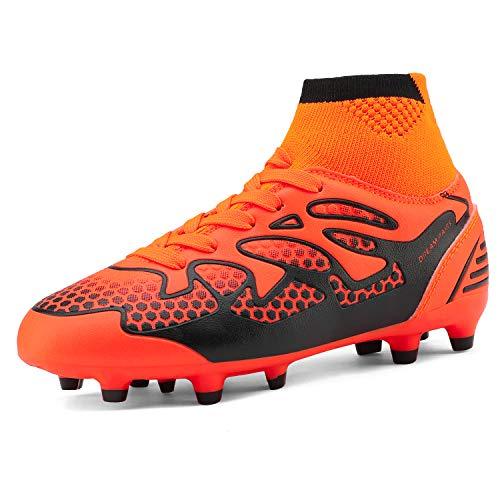 DREAM PAIRS Little Kid 160858-K Orange Black Fashion Soccer Football Cleats Shoes Size 1 M US Little Kid