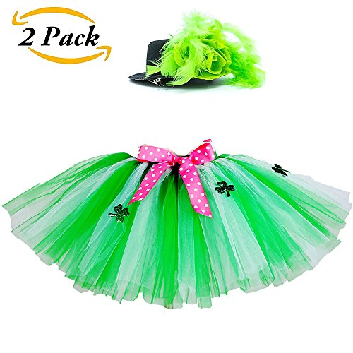 Swibitter Girls ST Patrick Day Green Tutu Skirt - Shamrock Costume Lucky With Irish Hat