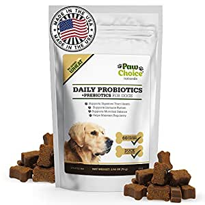 Probiotics for Dogs with Prebiotics - Daily Chews for Digestion, Regularity, Diarrhea Relief, Plus Supports Immune System and Health - Natural Supplement & Treat Made in USA,