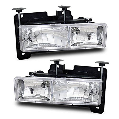 SPPC Clear Crystal Headlights Assembly For Chevrolet Fullsize - (Pair) Driver Left and Passenger Right Side Replacement Headlamp