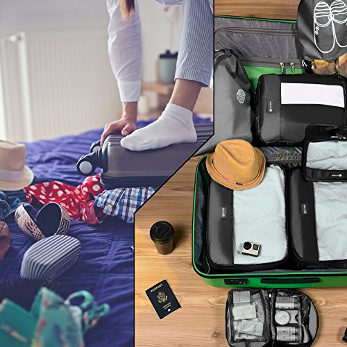 Packing Cubes Travel Set 7 Pc Luggage Carry-On Organizers Toiletry & Laundry Bag by Free Rhythm (Image #4)