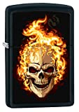 Zippo Lighter: Skull on Fire - Black Matte