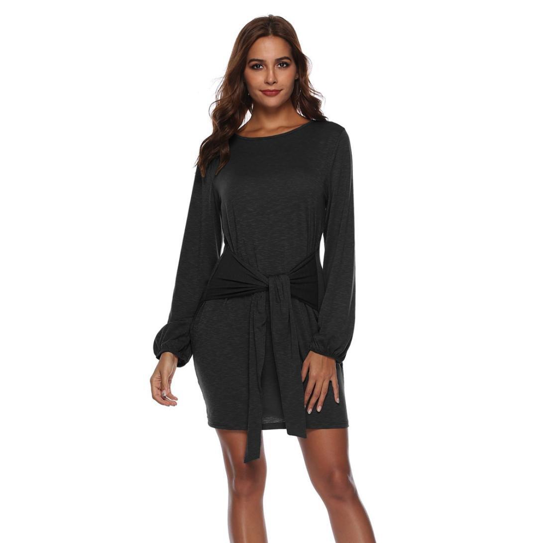 Spbamboo Women Long Sleeve Bandage Solid Above Knee Mini Dress Loose Party Dress