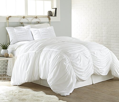 Chezmoi Collection Cassandra 2 Piece Chic Ruched Duvet Cover Set (Twin, White)