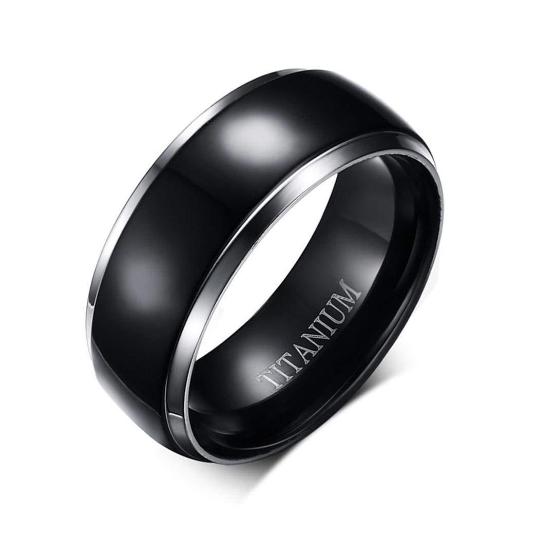 Titanium Jewelry JEWURA Couple Love Ring Classic Black Round