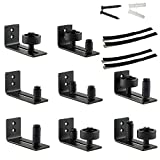 Flat Bottom Barn Door Floor Guide Stay Roller Set - 8 Setup Options - 4 Felt Strips & Instructions Included - Black Powder Coated Fully Adjustable Wall Mount Guide Fit for Barn Doors Up to 3.5'