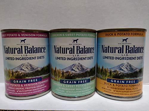 Natural Balance Dog Food Variety Pack 13 oz Cans: (4) LID Venison Formula, (4) LID Chicken Formula, (4) LID Duck Formula (12 Pack Bundle)
