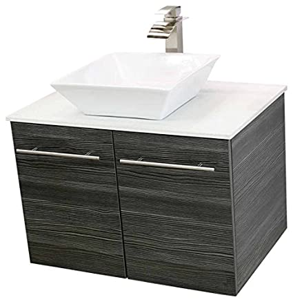"""Lovely WindBay 30"""" wall mount floating bathroom vanity sink set Vanities sink Dark Grey Review - Lovely Gray Vanity Bathroom Ideas In 2018"""