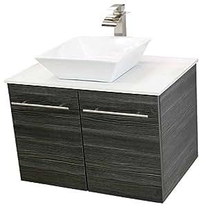 Windbay 30 Wall Mount Floating Bathroom Vanity Sink Set Vanities Sink Dark Grey