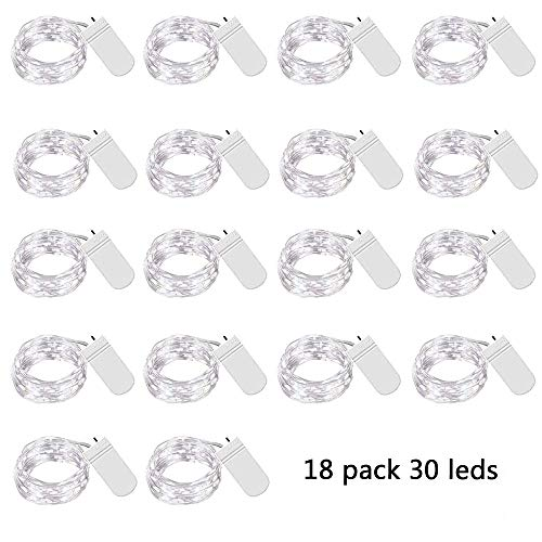 18 Pack Fairy Lights Battery Operated 30 Micro LEDs Mini Starry String Lights 10ft Silvery Copper Wire Lights,2pcs CR2032(Incl),Works for Wedding Centerpiece,Party,Table Decorations(Cool White) (Dining Table Cool Centerpieces)