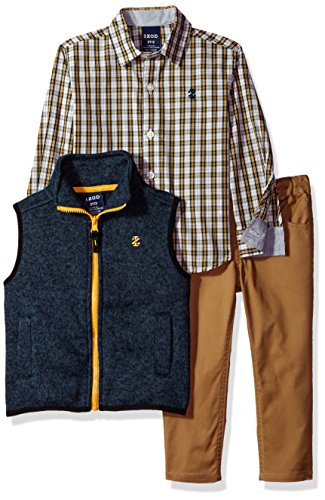 3 Piece Sweater Vest Pants - IZOD Toddler Boys' Three Piece Vest, Woven Shirt, Pant, Navy, 4T