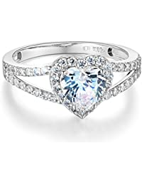 Ladies Solid 14k Yellow -OR- White Gold Polished CZ Cubic Zirconia Heart Cut Halo Engagement Ring with Side Stones