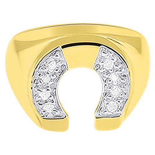 Diamond Horseshoe Ring Good Luck 14K Yellow (Mens Diamond Horseshoe Ring)