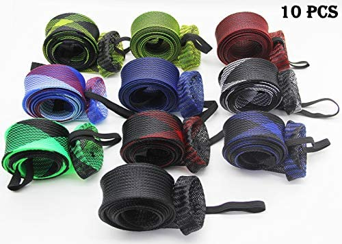 LZLRUN 10Pcs Expanable Braided Mesh Jacket Wrap Casting Fishing Rod Sleeve Cover Pole Glover Tip Protector Bag Sock Fishing Tools