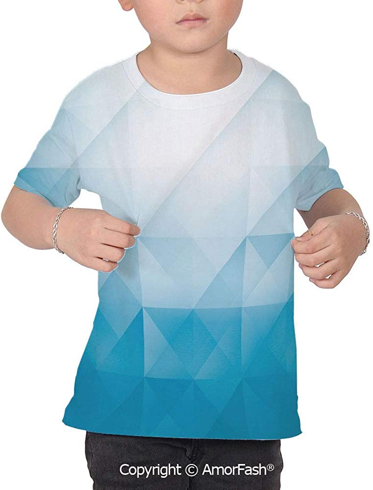 Abstract Decor Childrens Short Sleeve Cool T-Shirt,Polyester,Ombre Colors in Fr