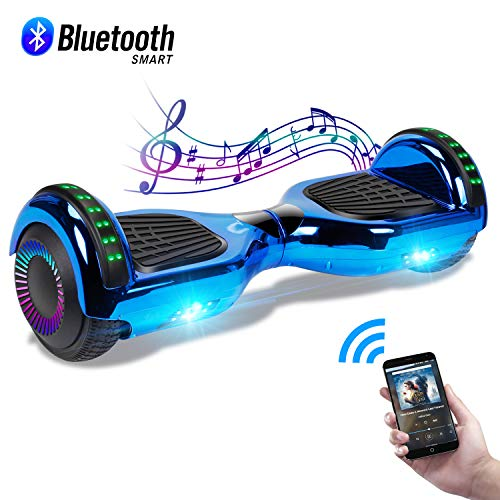 CBD 6.5' Hoverboard with Bluetooth Speaker, Self Balancing Hoverboard for Kids with LED Lights, UL 2272 Certified, Chrome Blue