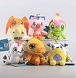 Digimon Adventure Agumon Gabumon Gomamon Palmon Patamon Piyomon Set of 6 pcs Soft Plush Figure Toy Anime Stuffed Animal Child Gift Doll