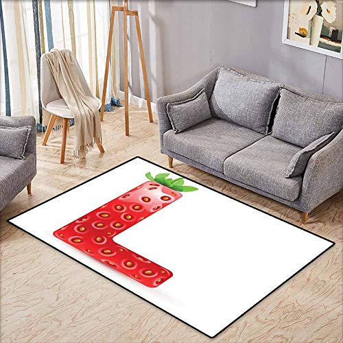 Collection Area Rug,Letter L,Juicy Ripe Strawberry in Shape of Letter L Boys Girls Kids Design,with No-Slip Backing,5'6