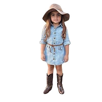 ☀Robe de princesse de regard,Mounter Enfant Bébé fille en [denim] Uni jupe+ceinture 12Mois-3Ans, Manches courtes
