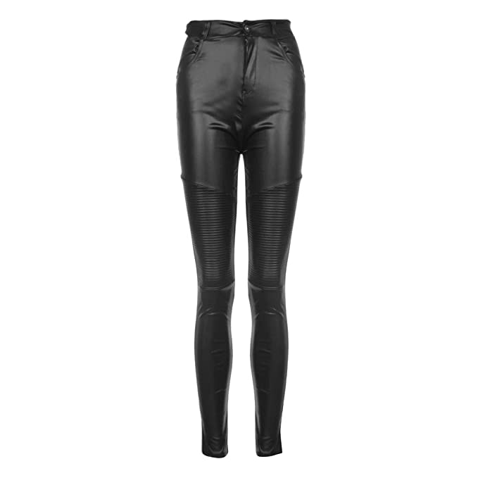 a5a29f34427bb Womens High Waist Stretch Pencil Pants Skinny Faux Leather Leggings  Trousers Black