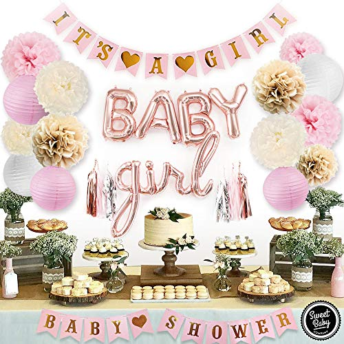 Sweet Baby Co. Pink Baby Shower Decorations For Girl With It's A Girl Banner, Baby Girl Foil Letter Balloons, Flower Pom Poms, Paper Lanterns, Tassels (Rose Gold, Pink, Ivory, Taupe, - Girl Shower Decorations Baby