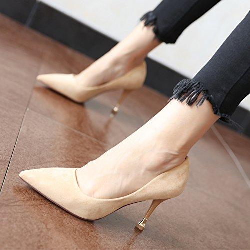 FLYRCX Simplificado europeo fuerte personalidad moda suede solo zapato primavera y otoño temporada punta fina con zapatos de trabajo parte tacones altos A