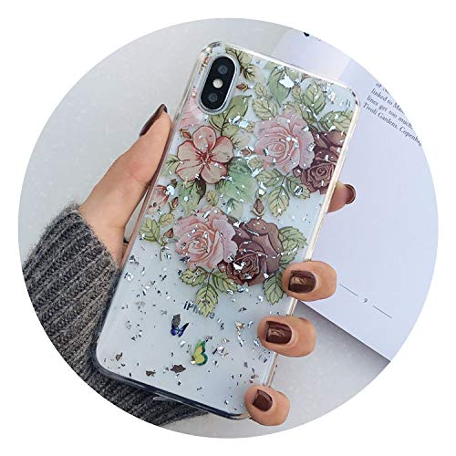 Floral Silicon Case for iPhone XR XS Max X Glitter Gold Foil Lace Flower Phone Cases for iPhone 7 8 6 6s Plus Clear Cover,AC2992 Silver,for iPhone 6 6S