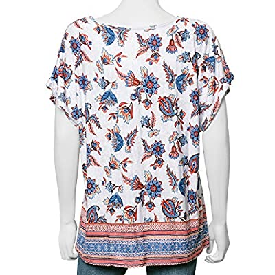 Multi Color 95% Rayon and 5% Spandex Top Trendy and Comfortable for Spring-Summer Days (Size L)