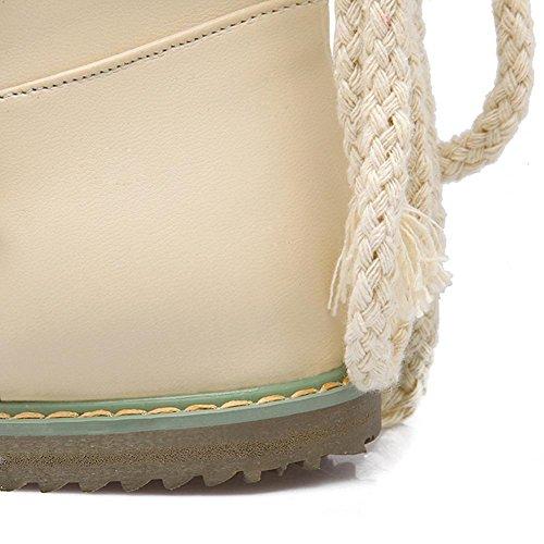 beige fibbia scarponi in Beige HDonne davanti inverno piane H in pizzo snow nero indossare 40 respirabili gomma da in bianco scarpe boots zwRXUnq