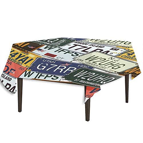 (kangkaishi Vintage Decor Detachable Washable Tablecloth Original Retro License Plates Creative Travel Collections Art Great for Parties Festivals etc. W36.2 x L36.4 Inch Green Blue)