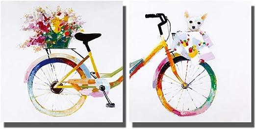 IGZAKER Dibujos Animados de Lienzo de Bicicleta Colorida para ...