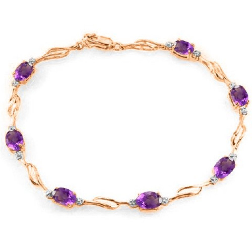 Galaxy Gold 14k Rose Gold Tennis Bracelet with Amethysts and Diamonds