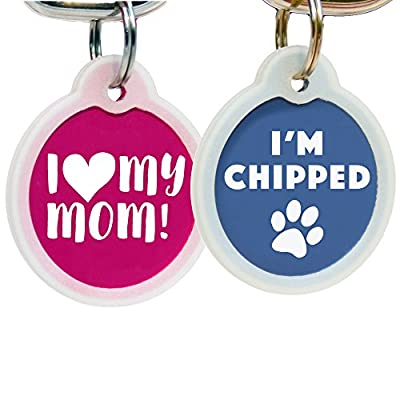 Funny Dog and Cat Tags Personalized w/4 Lines of Custom Engraved Text. Dog and Cat Collar ID Tags Come w/Glow in the Dark Silencer to Protect Tag & Engraving. by GoTags
