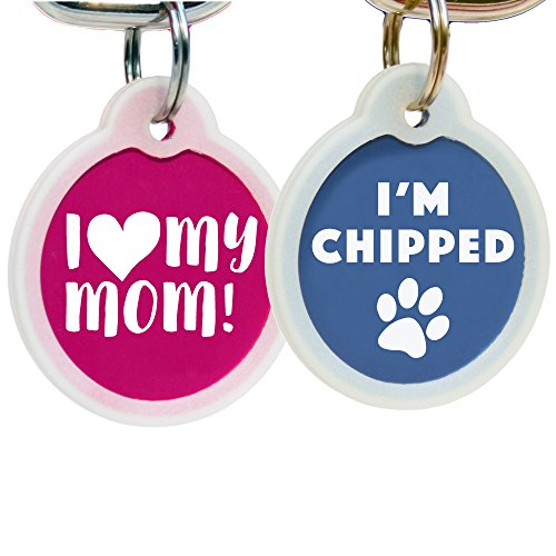 Funny Dog and Cat Tags Personalized w/4 Lines of Custom Engraved Text. Dog and Cat Collar ID Tags Come w/Glow in the Dark Silencer to Protect Tag & Engraving. (I Am Chipped)