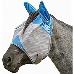 Cashel Crusader Standard Fly Mask with Ears and Blue Trim, Benefit Wounded Warriors - Size: Arab/Cob/Small Quarter Horse