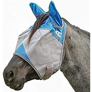 Cashel Crusader Standard Fly Mask with Ears and Blue Trim, Benefit Wounded Warriors - Size: Horse