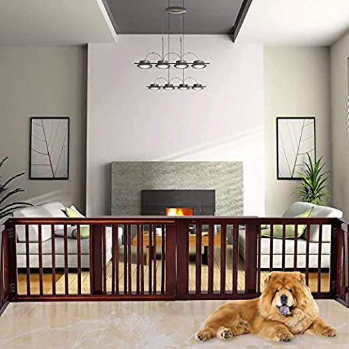 - PETSJOY 3 Panels Indoor Safety Gate Folding Adjustable Wooden Pet Dog Slide Gate Free Standing Step Over Safety Fence for Corridor, Doorway, Stairs, Extra Wide, Brown