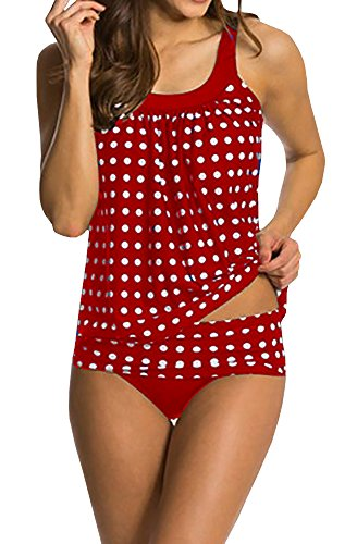 FISACE Women's Classic Retro Polka Dot Tanikini Set Swimsuit (Large, Red)