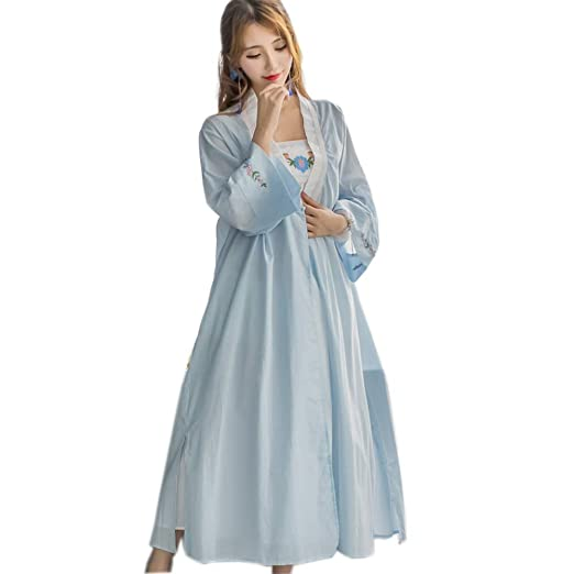 3d0340f956 Womens  Vintage 2 pcs Embroidery Wedding Nightgown Floral Sleepwear Girls Victorian  Nightdress PJS Lounger Robe