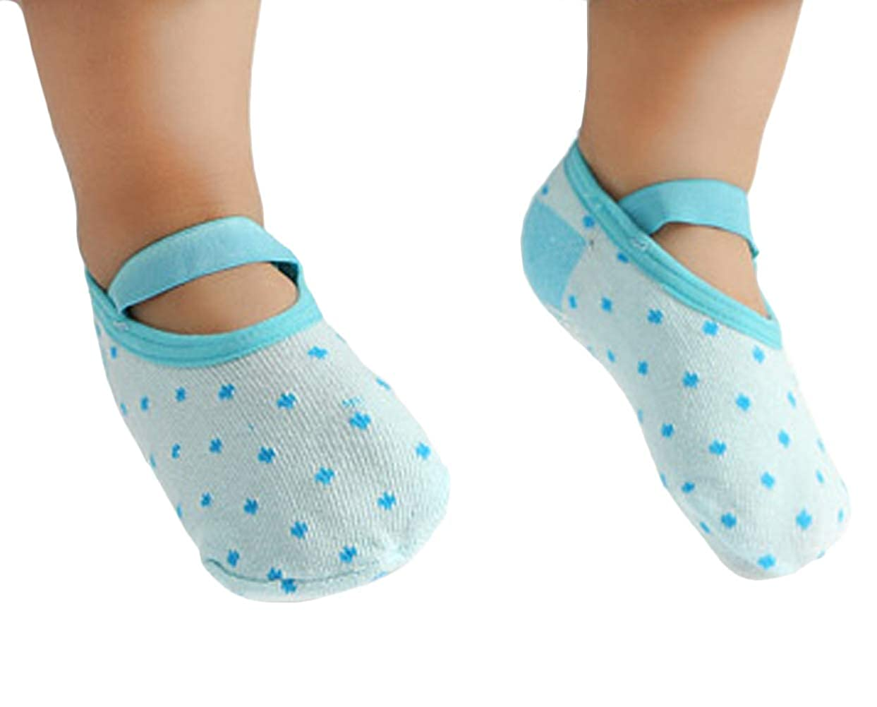 Pinksee 5 Pairs Toddler Baby Socks Anti Skid Non Skid Ballet Sock With Strap for 1-3 Years Old