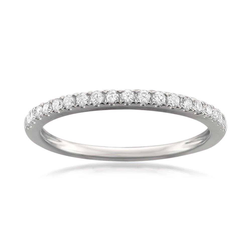 Platinum Round Diamond Micro-Pave Bridal Wedding Band Ring (1/4 cttw, H-I, VS2-SI1), Size 7.5