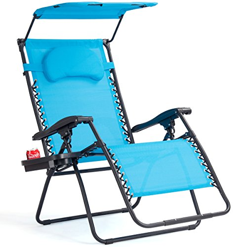 Goplus Folding Zero Gravity Lounge Chair Wide Recliner for Outdoor Beach Patio Pool w/Shade Canopy (Blue Zero Gravity Chair) Review