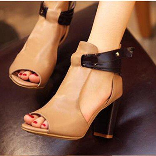 Femmes Mode Bloc Talon Sandales Peep Toe Découper des Talons Hauts Travail Soirée Chaussures De Soirée Beige 6IUwW
