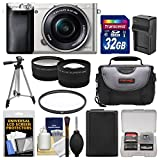 Sony Alpha A6000 Wi-Fi Digital Camera & 16-50mm Lens (Silver) with 32GB Card + Case + Battery/Charger + Tripod + Filter + Tele/Wide Lens Kit For Sale