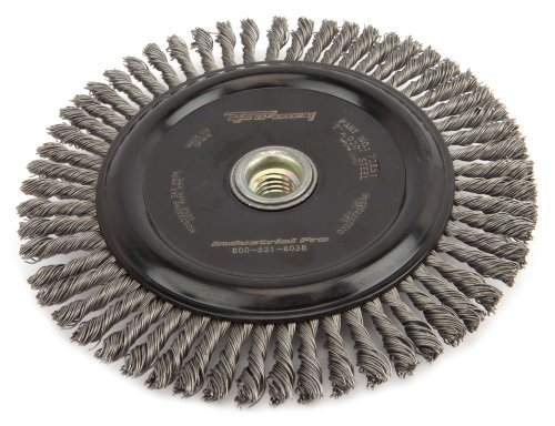 Forney 72851 Wire Wheel Brush, Industrial Pro Stringer Bead Twist Knot with 5/8-Inch-11 Threaded Arbor, 7-Inch-by-.020-Inch
