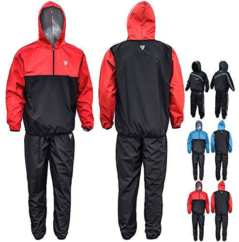 Red Medium Weight (RDX MMA Sauna Sweat Suit Running Non Rip Track Weight Loss Slimmimg Fitness Gym Exercise Training, Medium, Red)