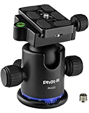 "Phot-R 360° Panoramic Camera Tripod Ball Head ¼"" Arca-Swiss Quick Release Shoe Plate & Bubble Spirit Level, Max Load 17.6lbs/8kg for Tripod, Monopod, Slider, DSLR, SLR Camcorders, Ballhead PH101"