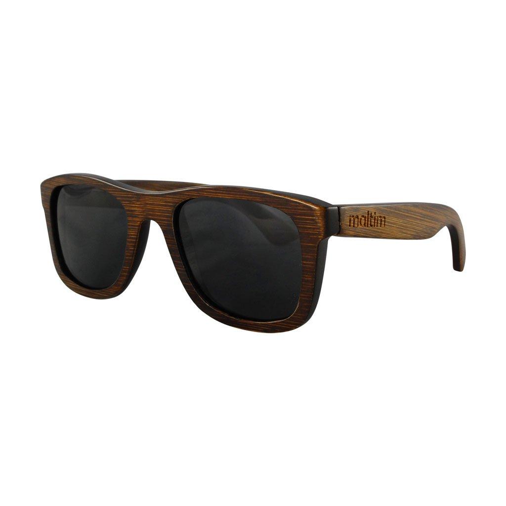 Sonnenbrille aus Bambus - Wayfarer Stil - 100% Handgefertigt - Polarisierende Gläser – Optimaler UV400 Schutz - CE Standards - Umweltfreundlich - Retro / Vintage Look – Modetrend für Männer und Frauen – Tuch und Bambus-Etui ANGEBOT