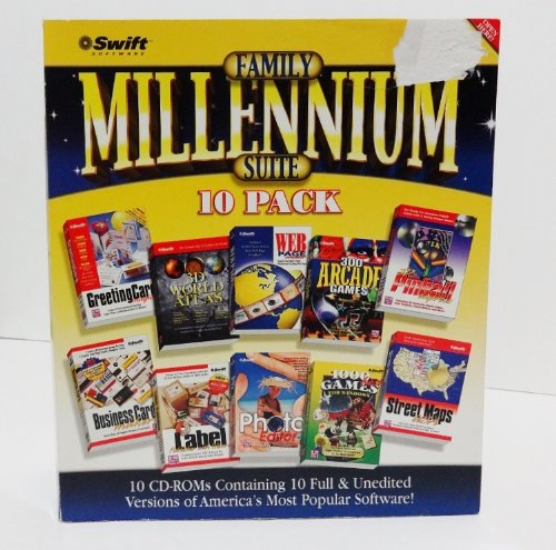 Family Millennium Suite 10 Pack Software CD-ROMs Includes: Greeting Card Magic, 3D World Altas and Almanac, Web Page Creator, Label Publisher with Wizards, Street Maps U.S.A., 1000 Best Games for Windows, 3D Pinball Express, Business Card Maker, Photo Editor Plus, 300 Arcade Games